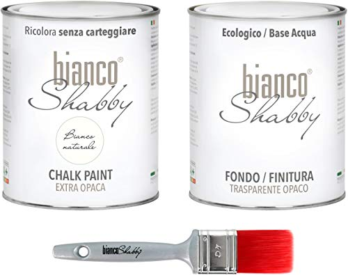 CHALK PAINT Bianco Naturale & FINITURA + PENNELLO - Pittura Shabby Chic EXTRA OPACA (1 Litro) + Finitura Trasparente Opaco (1 Litro) + 1 Pennello Pro 40 mm