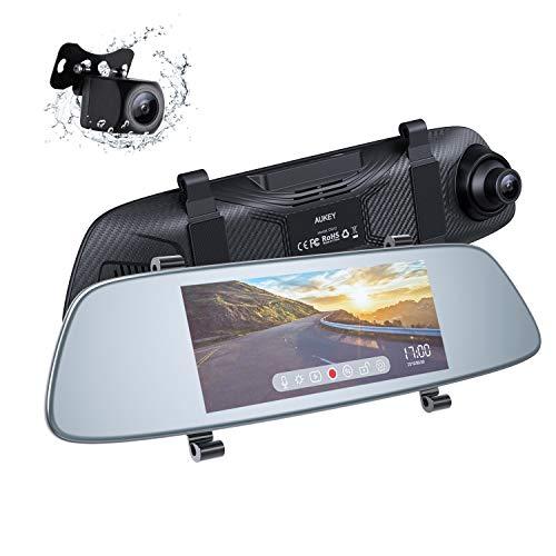 AUKEY Dash Cam Espejo Pantalla Táctil LCD de 6,8 Pulgadas Cámara de Coche con Cámara Frontal 1080p y Trasera 20p Resistente al Agua Dashcam con Modo de Aparcamiento, Detección de Movimiento, G-Sensor