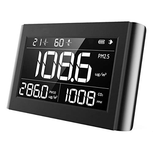 Luftqualität Messgerät-Hydrometer Feuchtigkeit Temperatur und Luftfeuchtigkeitsmesser Feinstaubmessgerät Digitales Detektor CO2 PM2.5 M10 TEMP Tester Thermo Hygrometer 【5 Jahr Garantie】