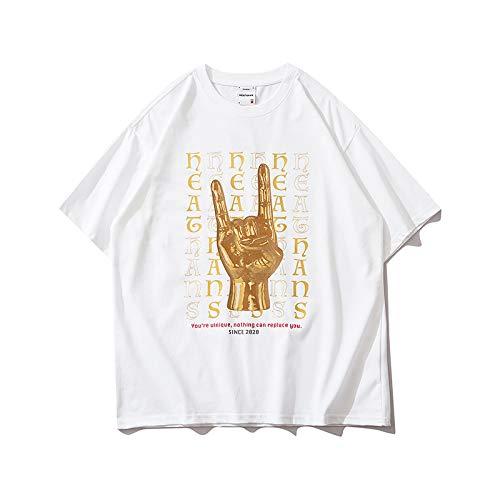 DREAMING-Camiseta de Manga Corta para Hombres y Mujeres, Camiseta de algodón con Cuello Redondo y Estampado Suelto, Camiseta de Pareja Superior, Pantalones de Verano L