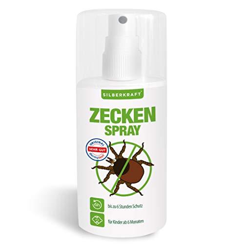 Silberkraft Zeckenspray 100 ml, Anti-Zecken-Mittel, Schutz vor Zecken und Mücken, für Körper und Kleidung, Abwehr und vertreiben