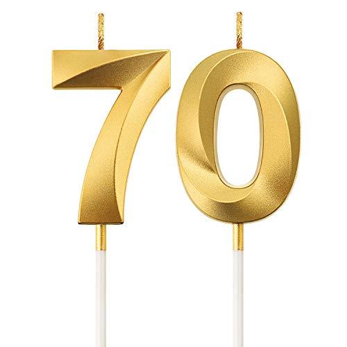 Numero Candele di Compleanno 70 ° Numero Candele Decorazione di Topper di Torta di Buon Compleanno per Festa di Compleanno Nozze Anniversario Celebrazione Forniture