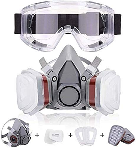 Half-face Respirator, Respiratory Protection, Industrial Dust Mask, Gas Mask, Breathable And Washable (with 1 Large Eye Mask)