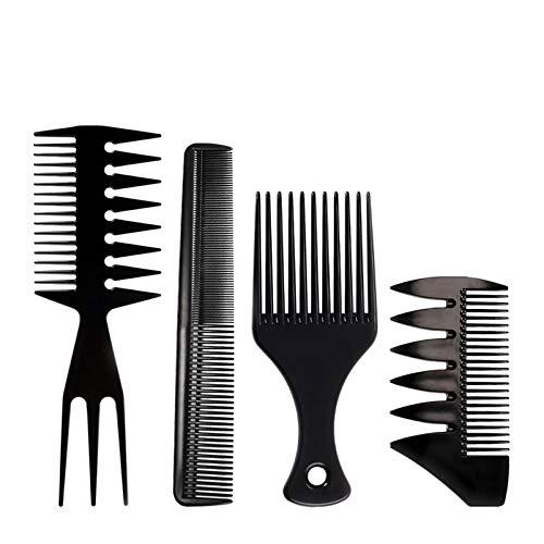 Stylingkamm für Herren, Afro-Haarkamm, Friseurkamm, Haarpflegeset, Salon, Barbier-Bürste, Werkzeug für natürliche, lockige, lange und dicke Frisuren, schwarz (4 Stück)