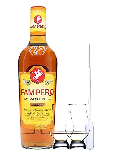 Pampero Anejo Especial Rum Venezuela 1,0 Liter + 2 Glencairn Gläser und Einwegpipette