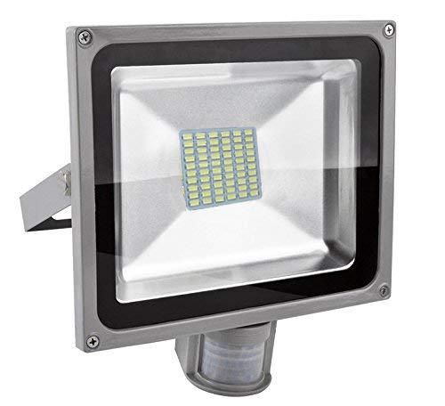 Leetop 20W 30W 50W 80W Faretto a LED con Sensore di Movimento e Crepuscolare Faro Luce Bianca Fredda(50 Watts)