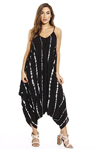 21635-BW-2X Riviera Sun Jumpsuit / Jumpsuits for Women Black/White
