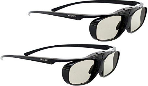 2x Hi-SHOCK RF Pro Black Heaven | aktive 3D Brille für EPSON, JVC & SONY RF 3D Beamer | komp mit. TDGBT500A [120 Hz | RF | akku| 32g ]