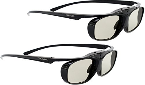 2X Hi-SHOCK RF Pro Black Heaven | aktive 3D Brille für EPSON, JVC und Sony RF 3D Beamer | komp mit. TDGBT500A [120 Hz | RF | akku| 32g ]