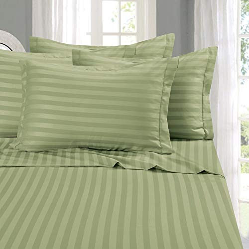 Elegant Comfort Best, Softest, Coziest 6-Piece Sheet Sets! - 1500 Thread Count Egyptian Quality Luxurious Wrinkle Resistant 6-Piece Damask Stripe Bed Sheet Set, King Sage/Green