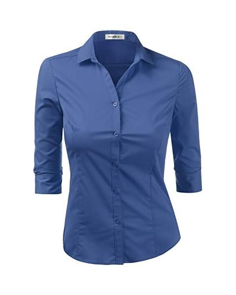 Doublju Womens Slim Fit Cotton 3/4 Sleeve Button Front Shirt Top RoyalBlue Medium
