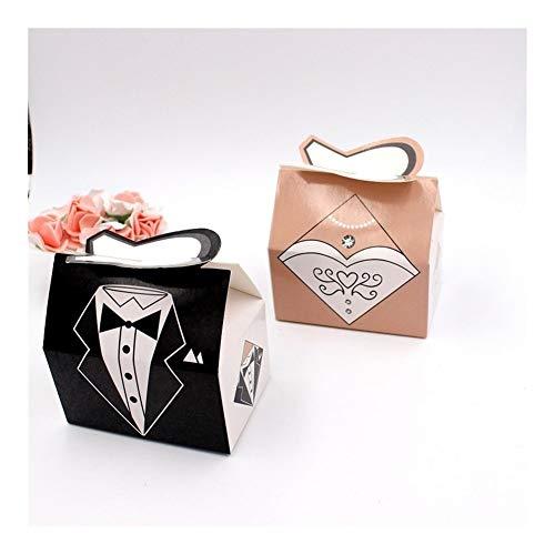 100 piezas de papel caja del caramelo del novio de la novia vestidos de boda bolsa de embalaje favorece las cajas del regalo for la decoración del partido de visitantes gift