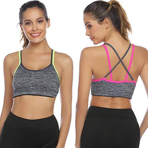Hawiton Sujetadores Deportivos Mujer con Relleno con Elastico y Transpirable Gimnasio Yoga Fitness Ejercicio, Pack 1/2