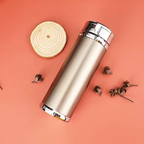 Yumanluo Termo Sin BPA Ecológica,Frasco de vacío de aleación de Zinc-Golden_400ml,Botellas Termica Reutilizable