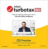 TurboTax LIVE Premier, Tax Experts and CPAs on Your Screen to help plus Final Review, 2020 Tax Software Online, Federal...