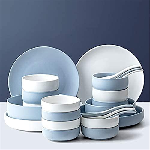 ZRB Juego de Platos, Conjunto de vajillas de cerámica: Servicio de Mesa, Incluyendo Placas/Conjuntos de tazón/Cuchara, para decoración para el hogar, Cocina y Comedor, 16 Piezas (Color : 24 Piece)