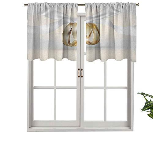 Hiiiman Cenefa de cortina con bolsillo para barra de alta calidad, anillos de boda de color dorado con cinta icono de matrimonio, celeb realista, juego de 2, 137 x 61 cm para decoración de interiores