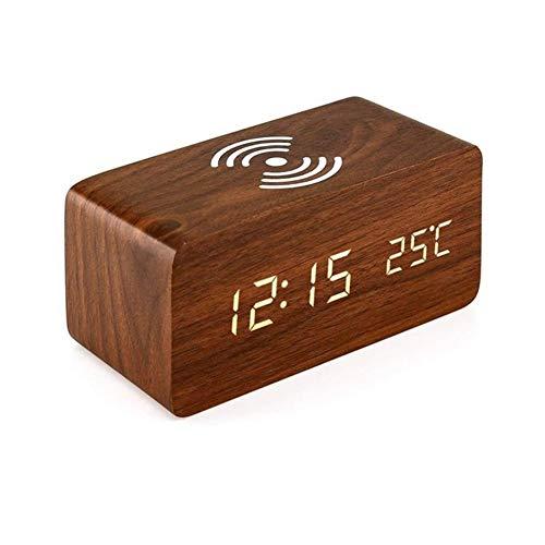 XpFac Store Qi Reloj con Una Almohadilla De Carga Inalámbrica For iPhone Samsung Reloj De Control De Sonido Digital (Color : Brown)