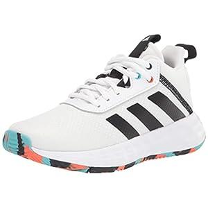 adidas Ownthegame 2.0 Basketball Shoe, White/Black/True Orange, 5 US Unisex Big Kid