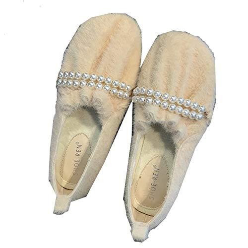 Mocasines Elegantes para Mujer, Forro de Piel de fax, Punta Cuadrada, Zapatos Planos de Color Albaricoque, Zapatos Planos Suaves y cómodos, Mocasines Elegantes