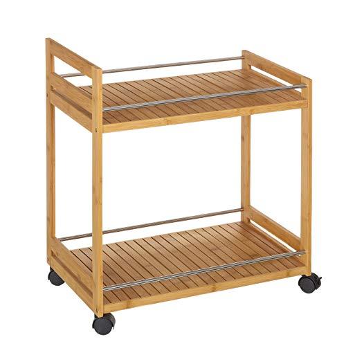 Carro de 2 baldas nórdico marrón de bambú para cocina Basic - LOLAhome