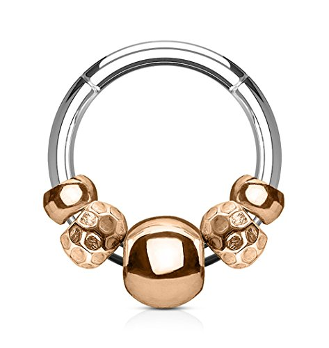 Kultpiercing - Universal Segmentring Steel Beads - Septum Cartilage Helix Tragus Lippen Intim Brust Nasen Segment Piercing - Chirurgenstahl Scharnier Clicker Ring - 1,2 x 8 mm - Rosegold
