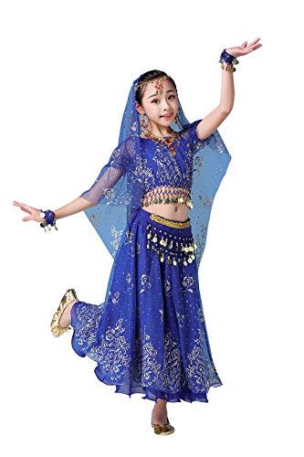 FEOYA Robe Costume Danse Orientale Enfant Déguisement Orientale Danseuse Fille Déguisement Bollywood Indienne Fille Belly Dance Carnaval Cosplay 8-10 Ans Bleu