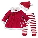 IEFIEL Costume Conjuntos de Tres Piezas Navidad Reyes Disfraces Chaqueta Fiesta Vestido + Pantalones Rayas + Gorro para Bebé Niña A Rojo 9-12 Meses