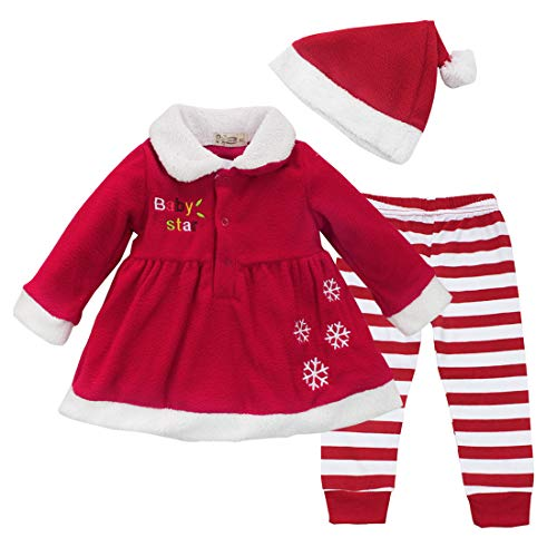 CHICTRY Baby Girl's 3PCS Christmas Santa Claus Dress with Striped Legging Hat Set Princess Xmas Costume Red 9-12 Months