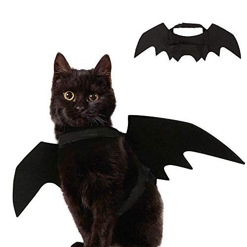 YING Halloween Mascota alas de murciélago Disfraz para Gato Perro, Gato Gatito alas de murciélago Disfraz Gato Gatito para Halloween Festival - Negro