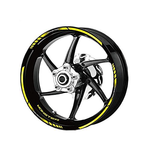 para Ducati para Monster 696 797 821 795 Motocicleta 12 Tiras Frente Trasera Pegatina de ruma de Doble Cara Pegatina de Rueda de Rueda Decoración Reflectante (Color : Yellow)