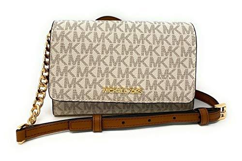 Michael Kors Women's 35F0GTVC8B Jet Set Travel Medium Multifunction Phone Xbody Crossbody Bag Wallet (Vanilla)