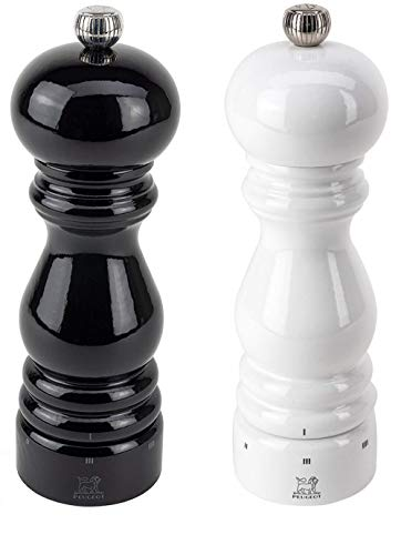 Peugeot Paris U'Select Lacquer Salt And Pepper Mill Set 7', Black And White