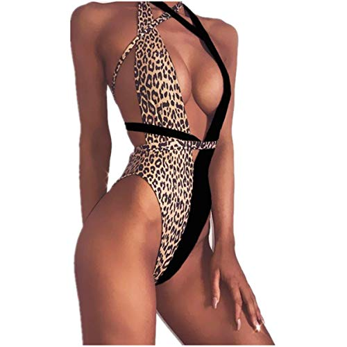 SFHFY Women Leopard Print One Piece Swimsuit Swimwear Bandage High Cut Monokini Bathing Suit (Medium, Black)