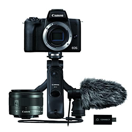 EOS M50 Mark II + EF 15-45 mm BK + Cable HDMI Power Adapter microfono DM-E100+ Tripode + HDMI Converter Atomos