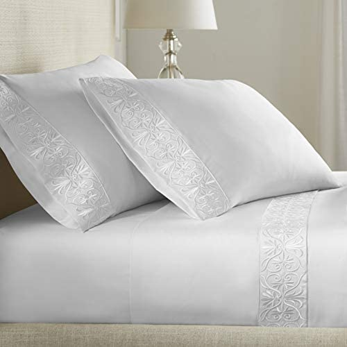 Pure Parima Luxury High End Embroidered 100% Certified Egyptian Cotton Sheet Set   Extra-Long Staple   Cool, Breathable, Ultra Comfort   Tone-on-Tone Scroll Embroidery   All Natural (White, Queen)