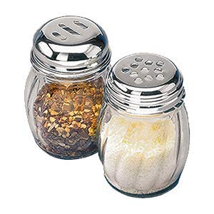 6-Ounces Glass Spices Shaker With Perforated Stainless Steel Top And Parmesan Cheese Shaker With Slotted Stainless Steel Top/Set of 2/Bulk Swirl Retro Style Dispensers With Lids/Salt & Pepper Shakers