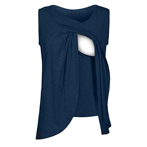 Débardeurs Classique de Maternité Solike Femmes Enceinte Grossesse Vêtements de maternité Tops de maternité T-Shirt Gilet de Allaitement Blouse Tops T-Shirt Cami (S, Bleu)
