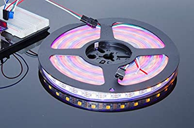ACROBOTIC 5m 300-Pixel Addressable 24-Bit RGB LED Strip (White PCB), 5V, IP68 Waterproof, WS2812B (WS2811), 3-Pin JST-SM Connectors Pre-Soldered to Both Ends, 60 Pixel LEDs/Meter