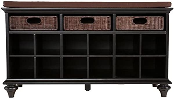 Chelmsford Entryway Storage Bench Shoe Cubbies W Fixed Shelves Black Finish