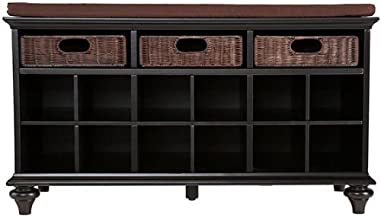 Chelmsford Entryway Storage Bench - Shoe Cubbies w/ Fixed Shelves - Black Finish