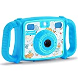 """Prograce Kids Camera Creative Camera 1080P HD Video Recorder Digital Action Camera Camcorder for Boys Girls Gifts 2.0"""" LCD Screen with 4X Digital Zoom and Funny Game(Blue)"""