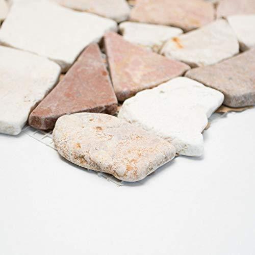 Handmuster Mosaik Fliese Marmor Naturstein rot beige Bruch Ciot Rosso Verona Botticino MOS44-1002_m