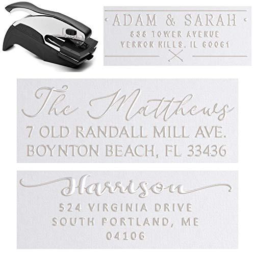 "Personalized Custom Address Embosser Seal Desk Handheld Wedding Invitation Seal Embosser Personalized Customized 2"" x 1"" (Rectangle Embosser4)"