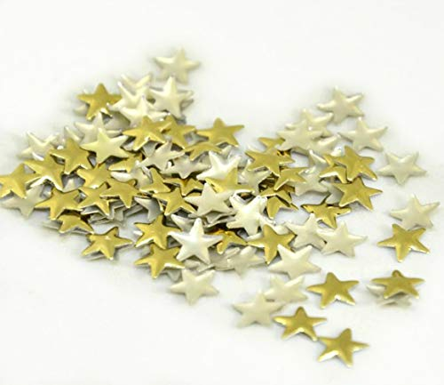 Brillabenny 100 estrellas estrellas doradas metal tachuelas oro metal dorado metal dorado termoadhesivo Hotfix 8 mm Nailhead Flatback