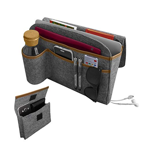Bursuva 7 Pockets Bedside Caddy Storage Organizer with Free Felt Case - Table Cabinet Storage Organizer for Water Bottle Holder, TV Remote Control, Laptop, Tablet Caddy, Phone, Magazines, Book (Grey)
