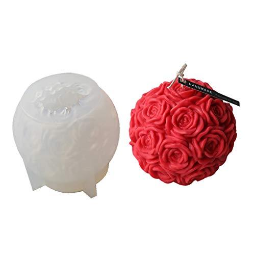 3D-Rosenkugel-Silikonform, Epoxidharz, Gießformen für Blumen, Kerzen, Schlüsselanhänger, Schmuckherstellung, Bastelwerkzeug
