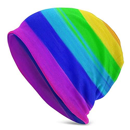 AEMAPE Gorro, Gorro Unisex de algodón con Rayas de arcoíris