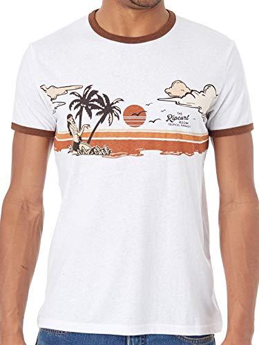 Rip Curl Hawaiano Sunset Manga Corta Camiseta en Óptica Blanco - Blanco Óptico, M