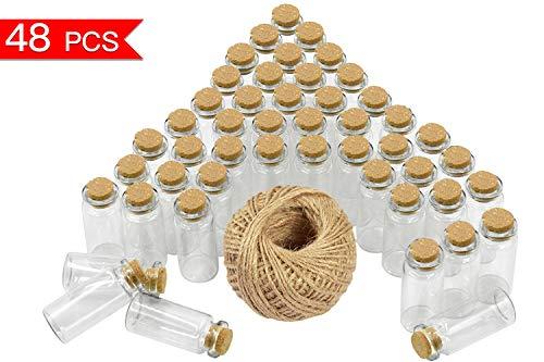 Wandefol 48 Order 45 Stück 10ml (5cm x 2cm) Mini Glasflaschen Klein Glasfläschchen mit Korken und 30 Meter Bindfaden Nachricht Flaschen für Öle oder Gewürze